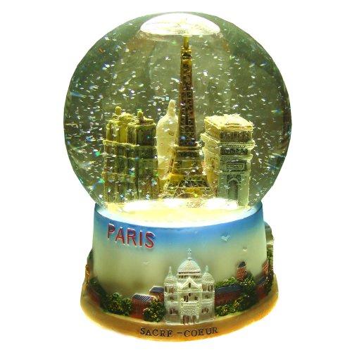 Souvenirs de France - Boule de Neige Verre Paris Monuments - Taille : 10 cm