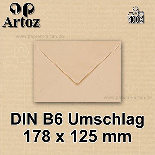 25x original ARTOZ DIN B6 Umschläge – 100 g/m² // SERIE 1001 // baileys, Naßklebung, gerippt // 178 x 125 mm +alle Farben