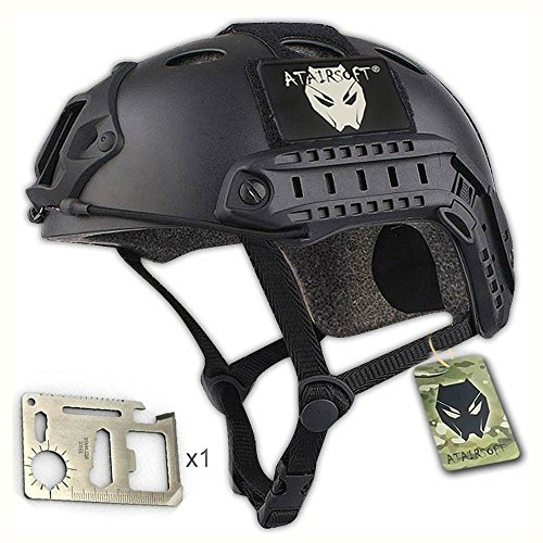 Casco militar para airsoft o paintball, diseño de estilo SWAT, color negro