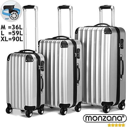 Ensemble Valise rigide Argent - 3 x bagage serrure - Malle voyage vacances