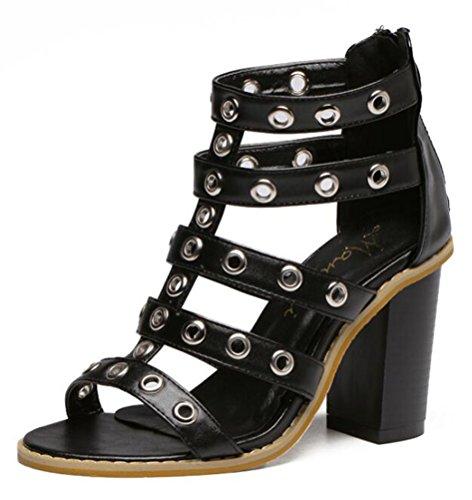 Easemax Damen Modisch Peep Toe Nieten Viel Band Reissverschluss Sandalen Mit Blockabsatz Schwarz 38 EU (Womens Sandalen Importiert Casual)