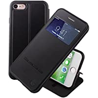 Nouske iPhone 7 iPhone 8 4.7 Zoll hülle Etui Smart Touch S View Window Leder Wallet Klapphülle Flip Book Case TPU Cover Bumper Ultra Slim Rundumschutz, Schwarz