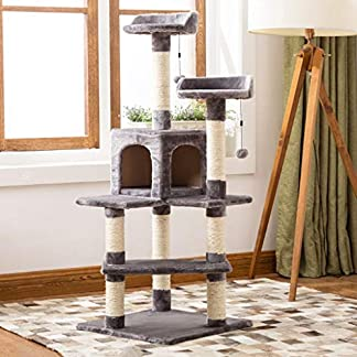 better cat tree, large sisal cat climbing frame with cat house floor cat tower cat scratch board activity center sl-006 (color : blue, size : 45cm*45cm*130cm) Better Cat Tree, Large Sisal Cat Climbing Frame with Cat House Floor Cat Tower Cat Scratch Board Activity Center SL-006 (color : Blue, Size : 45cm*45cm*130cm) 51mnVhYAoOL