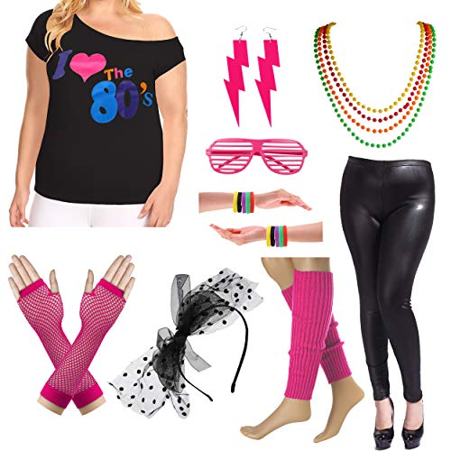 8IGHTEEN COSTUME Plus Size 80er Fancy Outfit Kostüm Set mit Leder Leggings für Damen (3X/4X, Hot Pink) (Hot Rock Star Kostüm)