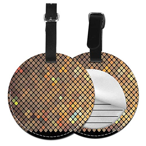 Round Travel Luggage Tags,Vibrant Mosaic of Diagonal Squares with A Black Finish Celebration Event Theme,Leather Baggage Tag Diagonale Finish