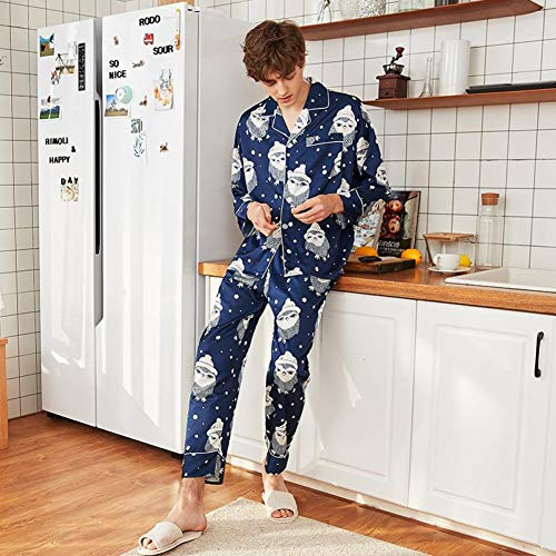 SYLOIK Print Animal Men Frühling Herbst Hemd & Hose Schlafanzug Satin Lässig Mit Tasche Home Wear Nachthemd Neuheit Schlaf Set, Navy Blue, XXL -