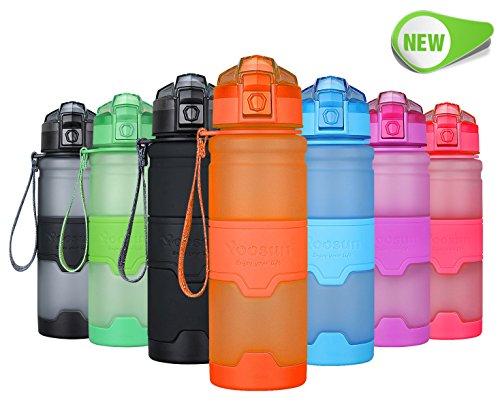 YOOSUN Sport Wasser Flasche BPA-Frei Auslaufsicher Reise Wasser Flasche Eco Kunststoff Trinkflasche Fitness Running Outdoor Camping Gym Wasser Flasche mit 1Click Öffnung, Bottle-Orange, 500ml -