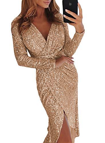 Aleumdr Vestito Donna Scollo V Profondo Abito da Donna Elegante Sexy Abito  da Sera Tinta Unita 14f63c73283