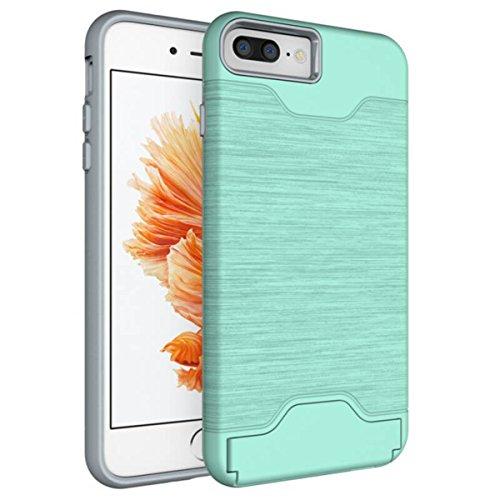 DouKou iphone 6/6S caso Design moda PC / TPU Doppio Conchiglia di protezione con il basamento slot per schede Adatto per iphone 6/6S caso (Nero) Verde