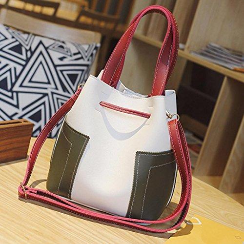 Longra Sacchetto della cartella della nappa del tutto-fiammifero del sacchetto del secchio delle donne Bianca