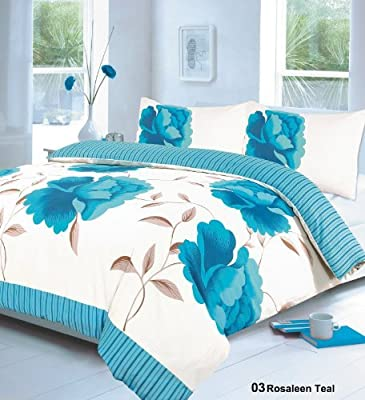 RAYYAN LINEN'S 3PCs ROSALEEN TEAL DOUBLE Duvet Quilt Cover with Pillow Cases Bedding Set | ALL NEW by GC