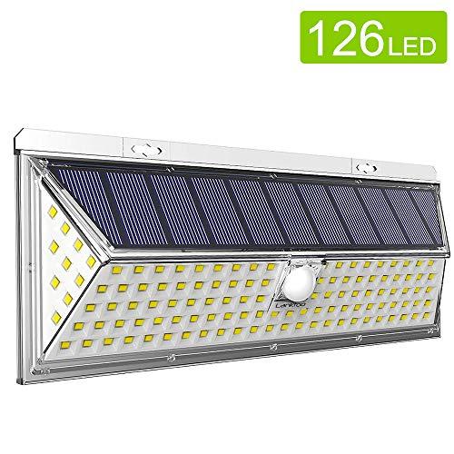 Luces solares LED para exteriores Lanktoo con sensor de movimiento, energía verde impulsada por energía solar.  La luz súper brillante equipada con 126 LED ilumina la puerta de su casa, el jardín, el patio, la terraza, el patio, la cerca, el garaje, ...