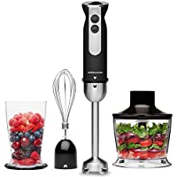 Andrew James Hand Blender 3 in 1 Set Electric with Whisk & Chopper Plus Bowl & Beaker | Great for Soup & Baby Food | 1000W | Black & Stainless Steel