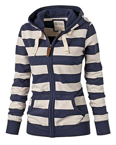 AnyuB Große Größen Damen Sweatjacke Kapuzenjacke Pullover Gestreift Hoodie Mit Kapuze Blau 4XL