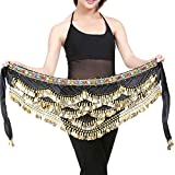 Rosennie Damen Karneval Kostüme Bauchtanz Rock Belly Dance 320 Muenzen Sequins Hip Scarf Gürtel Rock Silber münzen Chiffon Kostüm Bauchtanz Hüfttuch Münzgürtel für Karneval Fasching (Schwarz A)