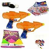 #6: Godofsale Combo of 2 Gun Shape Holi Pressure Water Gun Pichkari + 200 Balloon,1 Pack Of Holi Color Capsule, 1 holi color and 1 Gulal Free