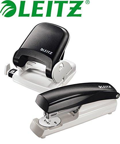 Leitz 5005 NeXXt Series Bürolocher für bis zu 25 Blatt / Kombi-Set (Locher + Heftgerät, schwarz)