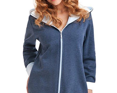 DOROTA kuscheliger und moderner Baumwoll-Bademantel mit Taschen, Reißverschluss & Kapuze Marine-Hellblau