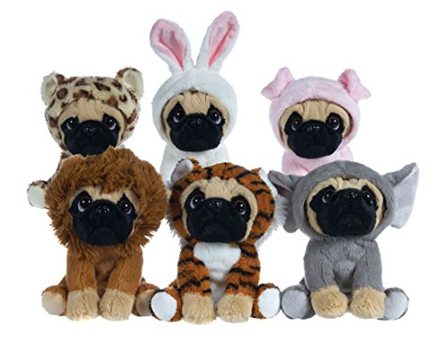 "Plush 6'1/2"" Pug Dogs in Costume onesies 6 assorted (Rabbit)"