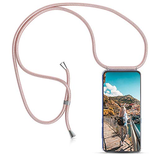 Carcasa de movil con Cuerda para Colgar Xiaomi Redmi 5 Plus【Versión Popular 2019】 Funda para iPhone/Samsung/Huawei con Correa Colgante para Llevar en el Cuello -Hecho a Mano en Berlin[Oro Rosa]
