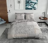 SASA CRAZE Bedding 100% Cotton Panel Printed Duvet Cover Set with 2 Pillowcases Beige, King- Patchwork