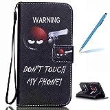 Trumpshop Smartphone Schutz Schale Tasche Handyhülle für Samsung Galaxy S6 edge + Don't Touch My Phone (Warnung) + PU Lederhülle Flip Etui Hülle SchutzHüllen Standfunktion Kredit Kartenfächer