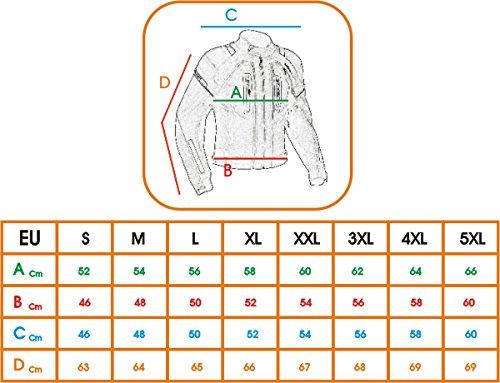 Giacca-Tessuto-Moto-Protezioni-CE-Manica-Staccabile-Gilet-Termico-Bianco-L