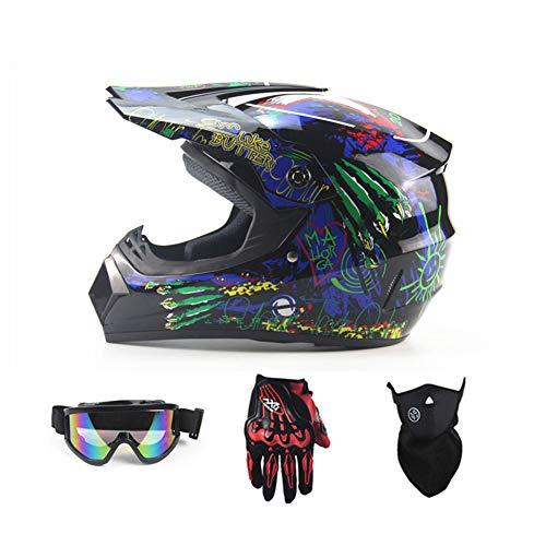 Motorrad-DH-Helm, Outdoor-Jugend-Kinder-Dirt-Fahrradhelme, Full Face Motocross Offroad-Rennsporthelm (Handschuhe, Brille, Maske, 4-teiliger Satz),Blue,M