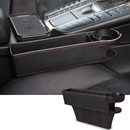 Koyoso Auto Organizer PU Leder, Sitz Tasche Aufbewahrungsbox Ablagefach Autositz Seiten Schlitz Taschen, Schwarz