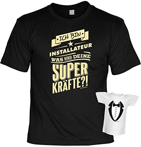 Fun T-Shirt: Ich bin Installateur - Was sind deine Superkräfte? - SET mit GRATIS Mini Shirt - Geschenk - Farbe: schwarz Schwarz