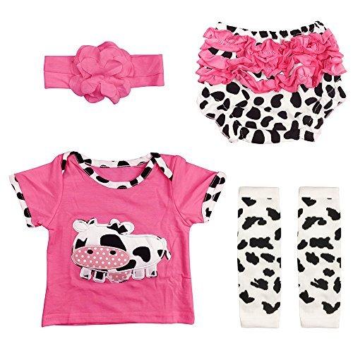Yesteria Reborn Babypuppe Kleidung Mädchen für 50-55 cm Rose Rot und Kuh-Muster
