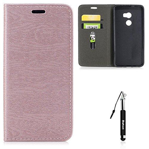 HTC One X10 Hülle, HTC One X10 Tasche Leder, Huphant Flip Case Leder [Auto-Magnet Wood Print Serie]PU Leather Case Wallet Case Magnet Case Schutzhülle Klappbar für HTC One X10(5,5 Zoll) - Rosa