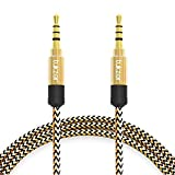 Car Accessories Best Deals - Tukzer Nylon Braided Premium 3.5mm Aux Audio Cable for Car (Gold and Black)