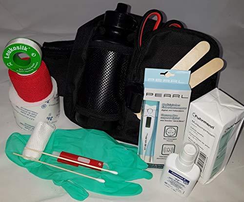 apotier24 1.-Erste-Hilfe-Set speziell für den Hund (mit 0,5 l-Flasche)-schwarz- -– enthält NUR Artikel die wirklich beim Hund benutzt Werden können - für Notfall, Wanderung, Sport, Jagd