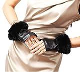 SED Frauen 'Veloursleder-Leder-Handschuhe Mode-Halbe Handfläche Dünnes Geld Kaninchen Schwarzer Mund,Schwarz,Mittel
