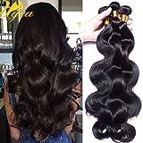 Ugeat 3 Lots 16 Pouces 300gram Tissage Bresilien Cheveux Naturel 100% Vierge Weaving Extensions de Cheveux Humain