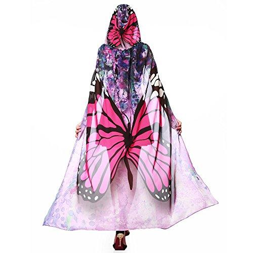 Baby Kostüm Batgirl - Alni Damen Karneval Kostüm Schmetterlings Druck Kapuzenumhang Cape Schmetterlingsflügel Erwachsene Schal Cape Tuch