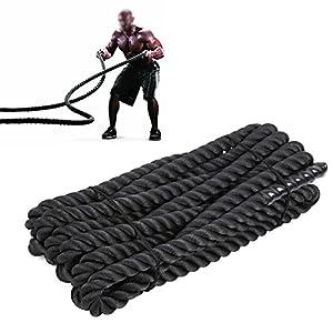 FEMOR Battle Rope 9/12/15M Schwarz Fitness Φ 3.8cm Tau Trainingsseil für Sprung- Kletter- Crossfit-Training, Kraftausdauer und Tauziehen Schlagseil Schlangenseil Schwungseil