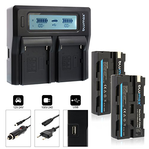 Blumax 2X Akku NP-F550 2400mAh + Doppelladegerät NPF550 Dual Charger NP-F970 NP-F960 NP-F750 | 2 Akkus gleichzeitig Laden -