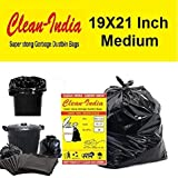 Clean India - Garbage Bags  Medium:19 Inch X 21 Inch   4 Packs of 30 Pcs - 120 Pcs   Disposable Garbage Trash Waste Dustbin Covers & Bags - Black