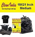 Clean India - Garbage Bags  Medium:19 Inch X 21 Inch   4 Packs of 30 Pcs - 120 Pcs   Disposable Garbage Trash Waste...