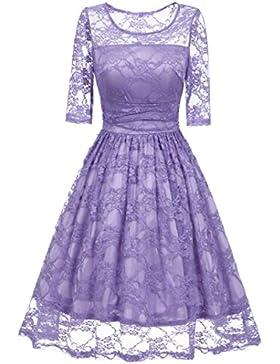 Internet Damen Vintage Spitze Patchwork Hochzeit Cocktail Party Casual Halbarm Kleid