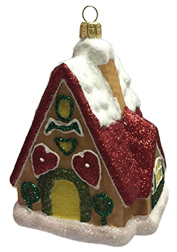 Snow Covered Gingerbread House Polish Glass Christmas Tree Ornament Made Poland -