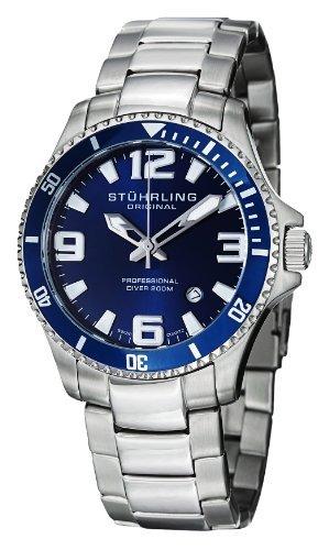 Stuhrling Original 395.33U16del hombre Aquadiver campeón de Regatta profesional Diver Swiss cuarzo fecha bisel azul reloj