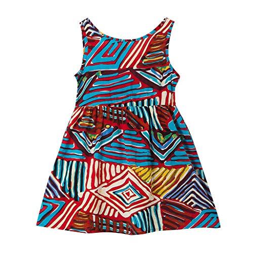 Sanahy Sommer Bunte Geometrie drucken Neckholder Kleid Tops Party Mandala Ärmellos Shirt Mode Strand Mädchen locker Oberteile niedlich Kleidung