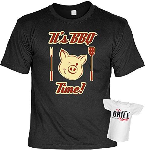 Grill T-Shirt zur Grillparty - It`s BBQ Time! Im Set mit einem gratis Minishirt - it`s Grill Time! Schwarz