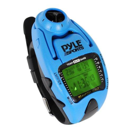 Pyle Uhr Windgeschwindigkeitsmesser mit Gefühlt Temp Höhenmesser Barometer Kompass Yacht-Timer, Blau, PSWWM90BL