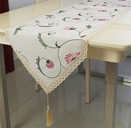 TOYM- In stile europeo, giardino di fiore ricamato in lino Tovaglia Bandiera, Bandiera tavolino, TV Gabinetto Flag ( dimensioni : 40*175cm )