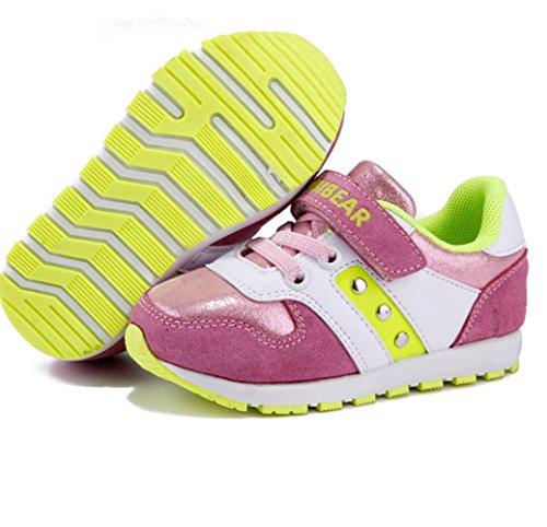 Unisex-Kinder Frühling und Sommer Runde Zehen Sohle Anti-rutsch Schnellverschluss Wildleder Druckknopf Jungen und Mädchen Lässige Schnürsenkel Sportliche Sneakers Pink