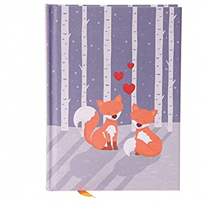 Hardback A6 Lined Note Book - Cute Love Foxes. PDS
